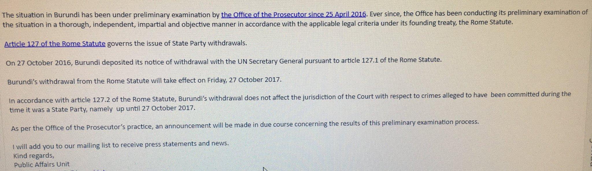 ICC reaction to burundi